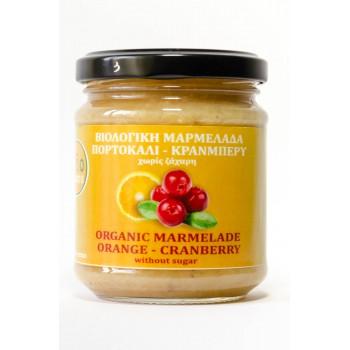 Βιολογική μαρμελάδα πορτοκάλι-κράνμπερυ χωρίς ζάχαρη